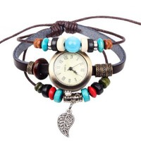 Amazon.com: Ladies Faux Antique Infinity Watch with Bead and Dangling Leaf Charm Charm Pendant on Handmade Leather Band Bracelet: Jewelry