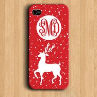 Monogram Phone Case Iphone 4 Christmas Phone Case- White Elk Red Snow Script Monogram IPhone 5/5s Cover Chrsitmas Gift-NFNL39