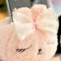 Cute Lovely Plush Mobile Cell Phone iPhone iPod touch Desktop Office Holder (Pink Rabbit)