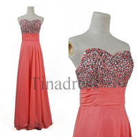 Custom Coral Beaded Long Prom Dresses Evening Dresses Bridesmaid Dresses 2014 Party Dress Evening Gowns Cocktail Dress Homecoming Dress