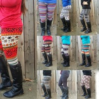 Aztec Tribal Chevron Print High Waist Soft Knitted Leggings Tights Pants SLE
