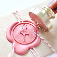 Ballerina Ballet Dancer Gold Plated Wax Seal Stamp x 1