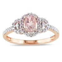 Oval Morganite and 1/6 CT. T.W. Diamond Buckle Ring in 10K Rose Gold