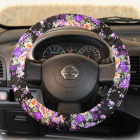 Steering-wheel-cover-for-wheel-car-accessories-Violet-Floral-Wheel-cover