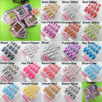 12 PACK Art Nail French False Fake Professional Nails W/GLUE 20Colors-1 T041