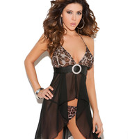 Elegant Moments Animal Halter Babydoll Set Sleepwear 4711 at BareNecessities.com