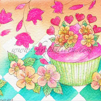 Digital art print of watercolor painting (still life) - Cupcake, flowers and colors