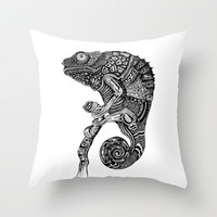 Chameleon Throw Pillow by Ejaculesc