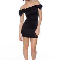Take a Bow Off the Shoulder Bow Dress - Black
