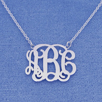 "Silver Monogram Necklace 1""- Personalized Monogram - 925 Sterling silver"