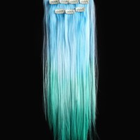 18'' 6pcs Synthetic Ombre Dip Dyed Hippie Hair Human Extension Clip in 27colors WGY62 Light Blue / Light Green