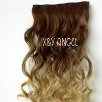 X&Y ANGEL New Two Tone One Piece Long Curl/curly/wavy Synthetic Thick Hair Extensions Clip-on Hairpieces 16 Colors (brown to milk tea)