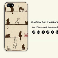 Cat on the line,iPhone 5 case, iPhone 5C Case, iPhone 5S , Phone case,iPhone 4 Case, iPhone 4S Case,Samsung Galaxy S3, S4