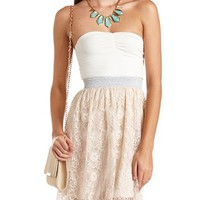 EYELASH LACE 2-FER TUBE DRESS