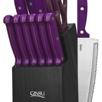 Ginsu 3891 Essential Series 14-Piece Cutlery Set with Black Block, Purple