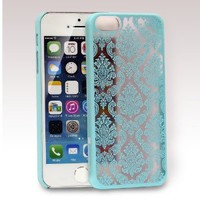 GreatShield TACT Series Design Pattern Rubber Coating Ultra Slim Fit Hard Case Cover for Apple iPhone 5 / 5S (Damask - Teal)