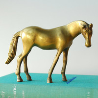 Vintage Brass Horse Figurine Solid Brass Sculpture Equestrian Decor