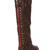 Bamboo Montage-83 Knee High Studded Contrast Colored Zipper Riding Boot - Brown PU