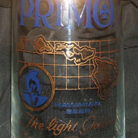 Primo Hawaiian Beer Drinking Glass Light Golden Beer of Hawaii Gold Logo Vintage Barware Glassware