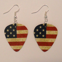 American Flag red white blue patriotic country guitar pick earrings