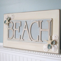 Beach Decor BEACH Sign - Nautical BEACH Sign w Starfish, Shells & Pearls