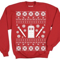 Doctor Who Tardis Police Box Pattern Ugly Christmas Sweatshirt