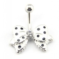 Baqi 14G White Bow Bowknot Enamel Belly Ring Navel Bar Body Piercing Jewelry White