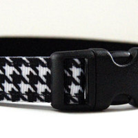 Hounds tooth Dog Collar Adjustable Sizes (XS, S, M)