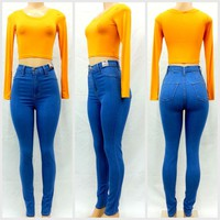 PLUS High Waist Medium Blue Skinny Classic Denim Jean Pants