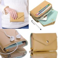 ATC Masione(TM) New Design Multifunctional Coin Purse Wrist Bag Handbag Envelope Wallet Pouch Case for Apple iphone 5S 5C 5 4S 4 Samsung Galaxy S4 S3 N7100 HTC ONE M7 Smart Phone + free Stylus Pen (Beige/Crown)