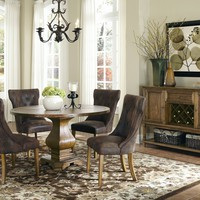 5 pc Parkins II collection coffee finish wood round country style textured surface dining table set with pedestal base