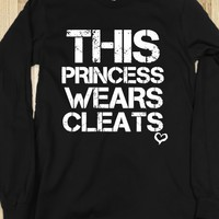 This princess wears soccer softball cleats black long sleeve tee tshirt t shirt