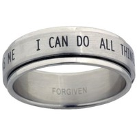 I Can Do All Things Stainless Steel Spinner Ring size 7