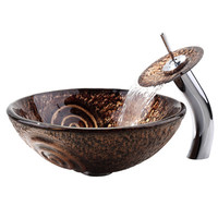 Kraus Luna Vessel Sink and Waterfall Faucet