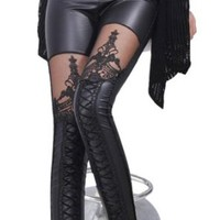 Amour - Gaga's Celebrity Lace up Front Wetlook Mesh Inset Leggings Pants Tights