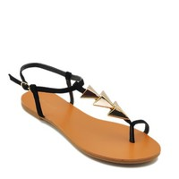 Cute Black Ankle Strap Sandals with Gold Metal Arrows