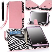 E-LV Deluxe PU Leather Flip Wallet Case Cover for Samsung Galaxy Note 3 with 1 Stylus and 1 Clear Screen Protector(Samsung Note 3, Baby Pink)