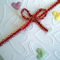 Candy Hearts Blank Note Cards, Set of 8 Heart Notecards, White Embossed Greeting Cards
