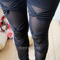 Sexy Ripped Sexy Stretch Vintage Tights Legging Pants Black Leggings