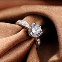 Magic Collection White Gold Finish 2 Carat Solitaire Round Cubic Zirconia Engagement Ring R86 (White Gold Finish, 8)