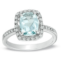 Cushion-Cut Aquamarine and Lab-Created White Sapphire Ring in 14K White Gold