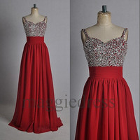 Custom Red Beaded Long Prom Dresses Evening Gowns Formal Party Dress Bridesmaid Dresses 2014 Formal Wear Cocktail Dresess Formal Wear