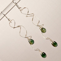 Green Quartz Silver Squiggle Earrings Long Wire Wrapped Dangle Green Quartz Holiday Fashion
