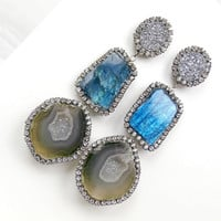 Tabasco Geode Earrings Labradorite Gemstone Slice Diamond Bezel Style