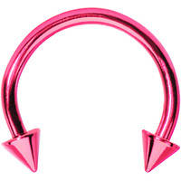 16 Gauge Light Pink Titanium Spike Horseshoe Circular Barbell 3/8"