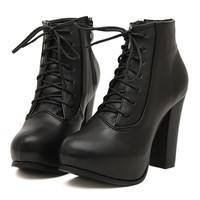 Street-chic Lace-up Platform Boots