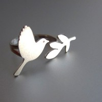 Peace Bird Ring Adjustable Sterling Silver Ring On sale | smilingsilversmith - Jewelry on ArtFire