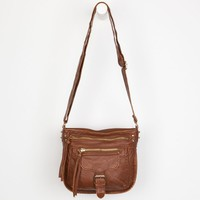 Washed Faux Leather Crossbody Bag Cognac One Size For Women 22906940901