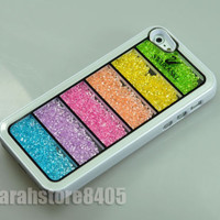 Hot Sale Rainbow Swarovski Element Crystal Phone Cover Case For iPhone 5 White