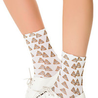 The Emoji Ankle Socks in Brown and White